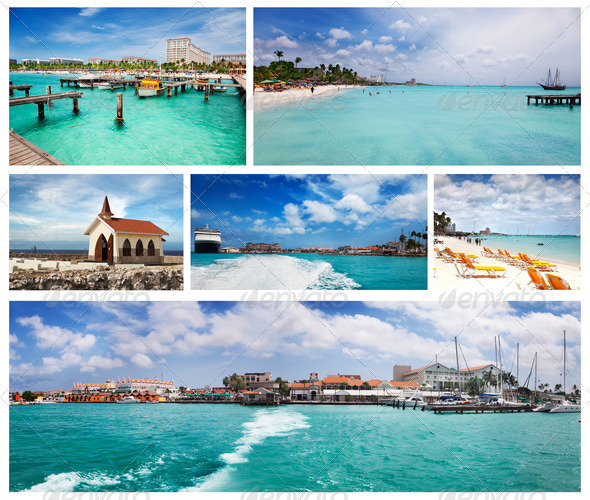 Collage of Aruba scenes - Stock Photo - Images
