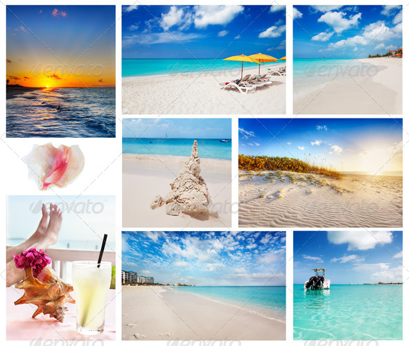 Collage of Turks and Caicos scenes - Stock Photo - Images