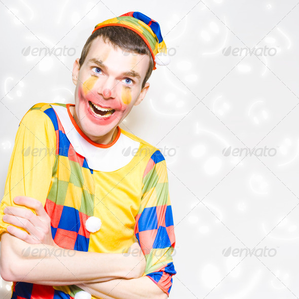 Happy Colorful Clown With Big Smile - Stock Photo - Images