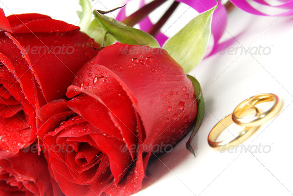 Roses and rings - Stock Photo - Images