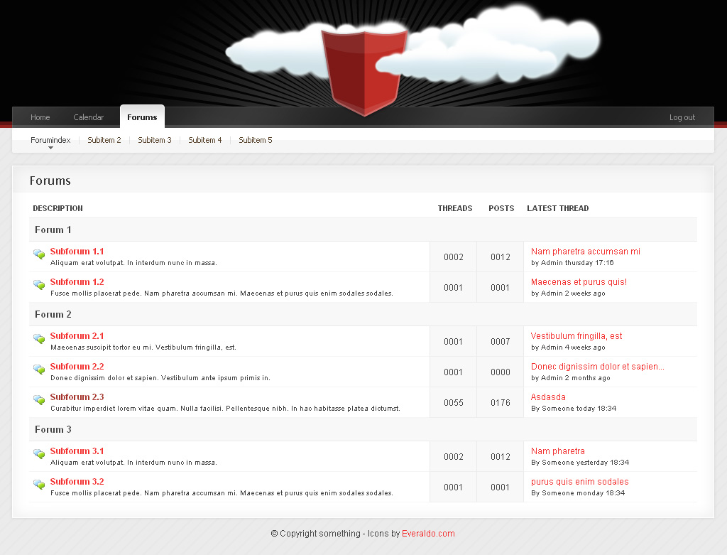 "Community Templace Advanced - {""6_Forums -------------------------------------------- Clean forumdesign. Separated forums/subforums. Shows""=>""Subforum title and discription and threads, posts, and latest post.""}"