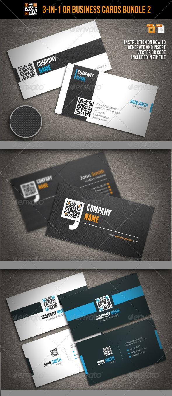 GraphicRiver 3-In-1 QR Business Cards Bundle 2 3464793