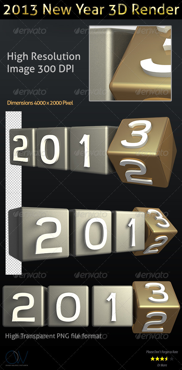2013 New Year 3D Render - Text 3D Renders