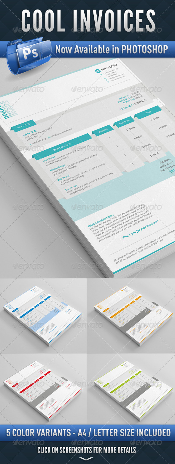 Cool Invoices PSD - Proposals & Invoices Stationery
