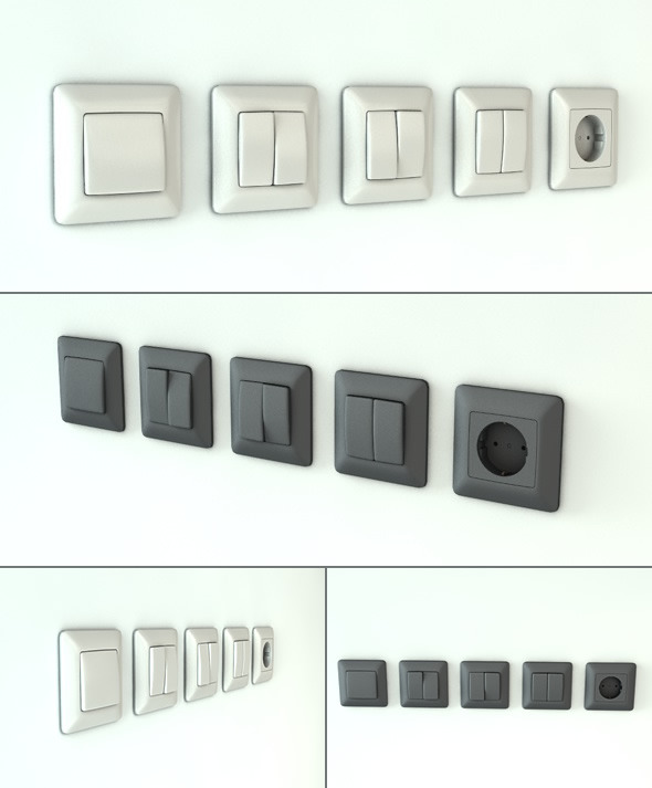 Light Switches and Outlet - 3DOcean Item for Sale
