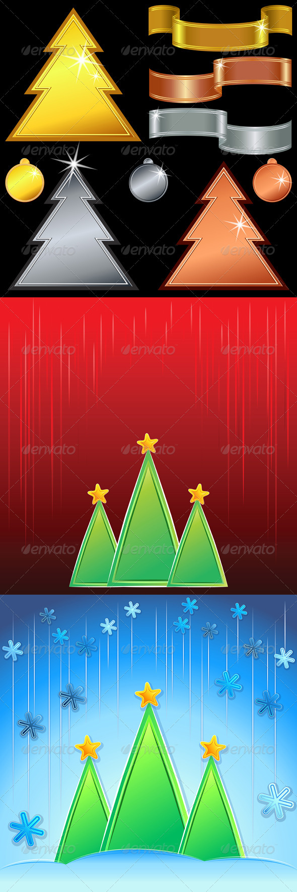 Vector  Gold, Silver, Bronze Christmas Trees - Christmas Seasons/Holidays