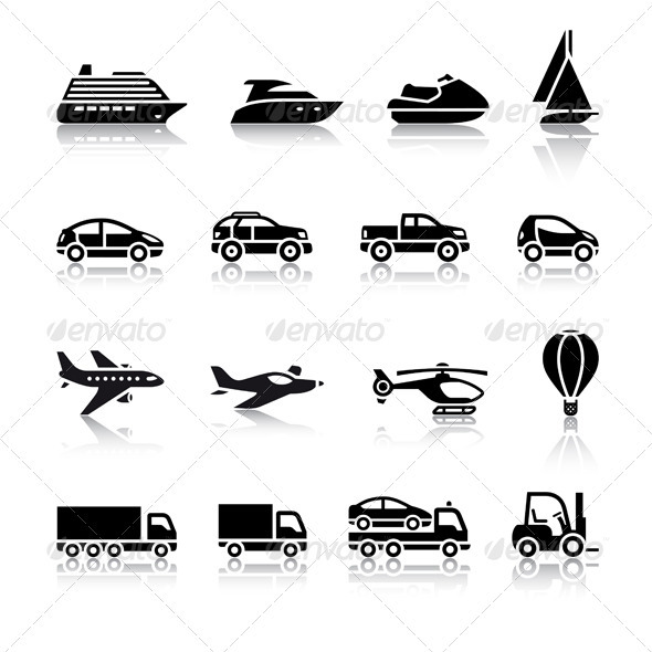 Set of Transport Signs - Web Elements Vectors