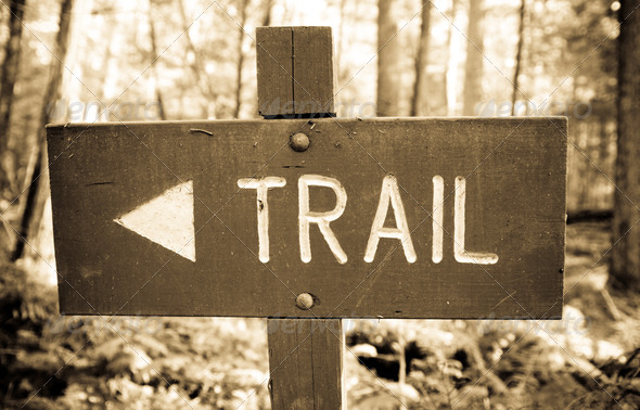 Wooden Trail Sign - Stock Photo - Images
