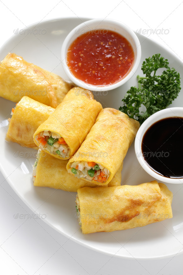 vegetarian egg rolls - Stock Photo - Images