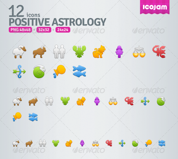 GraphicRiver 12 Positive Astrology icons 3471004