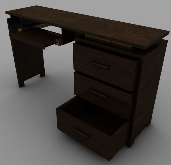 Realistic Computer Table With Render Stupe - 3DOcean Item for Sale