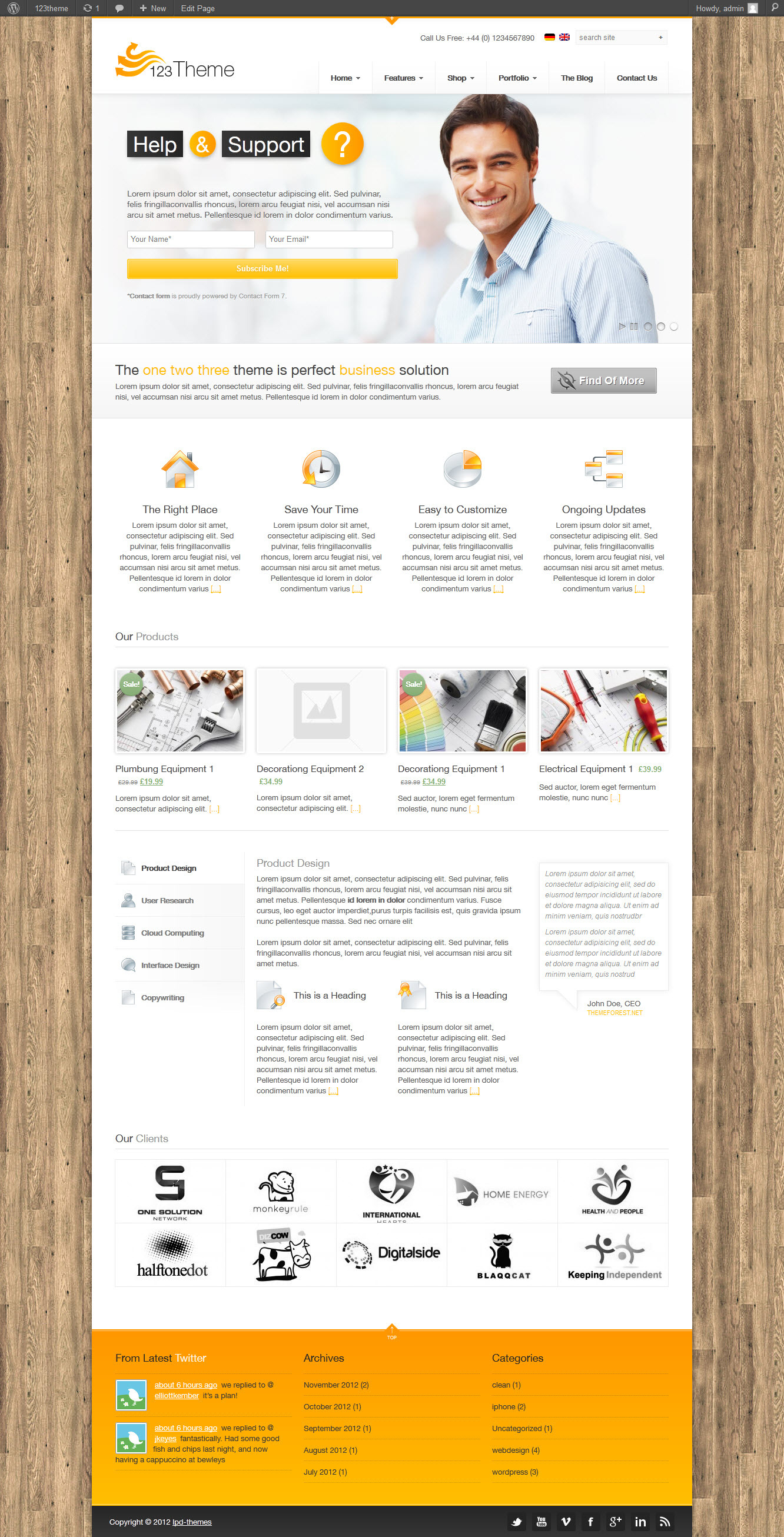 123Theme Business &amp; eCommerce Wordpress Theme - 05_front_page