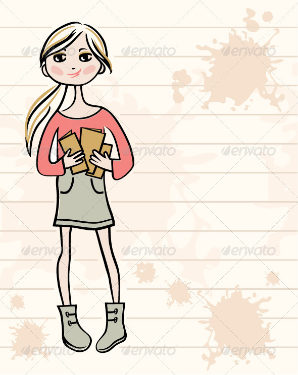 GraphicRiver Hand Drawn Girl with Books 3471827