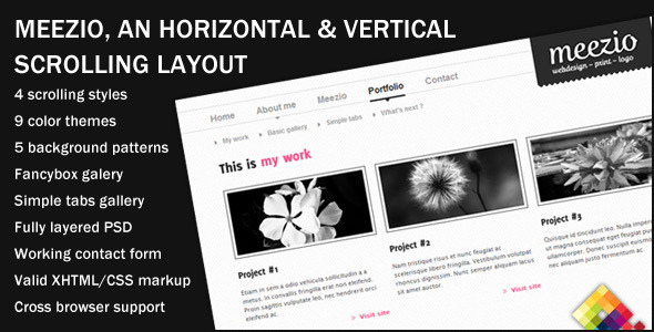ThemeForest Meezio Horizontal & Vertical Scrolling Template 83681