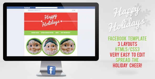 Happy Holiday Facebook Template - Social Media Home Personal