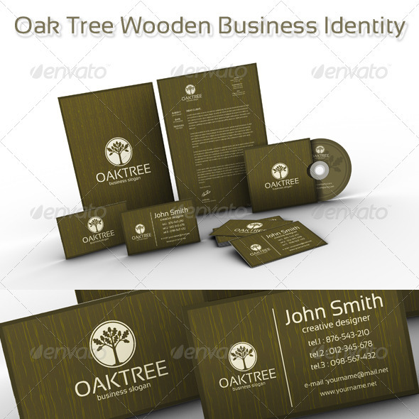Oak Tree Wooden Business Identity - Stationery Print Templates