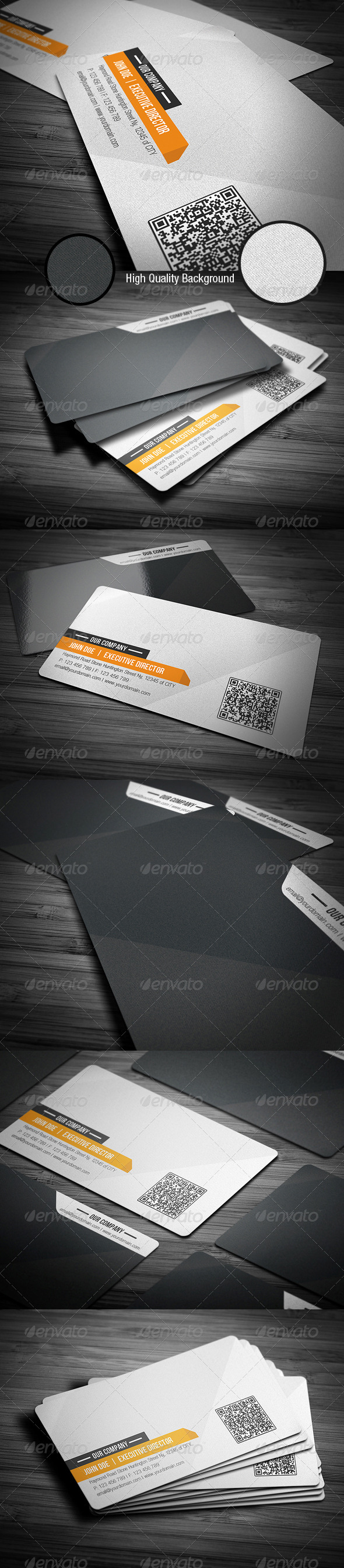 Orange Clean Corporate Business Card - Corporate Business Cards