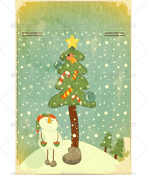 GraphicRiver Snowman and Big Christmas Tree 3473303