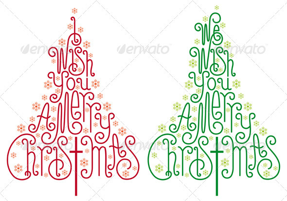 GraphicRiver Typographic Christmas Trees Vector 3473405