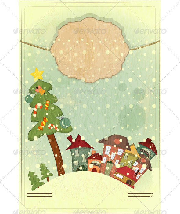 GraphicRiver Christmas Tree and Small Houses 3473406