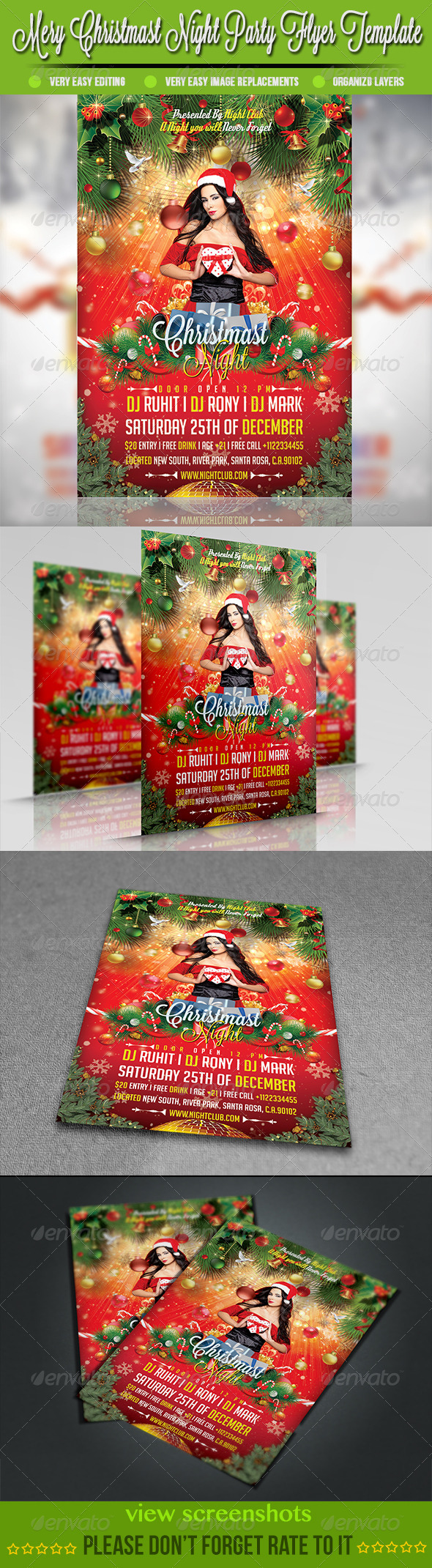 GraphicRiver Merry Christmast Night Party Flyer Template 3473965