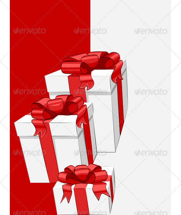 GraphicRiver Vector White Gift Box with Red Ribbon Bow 3476388