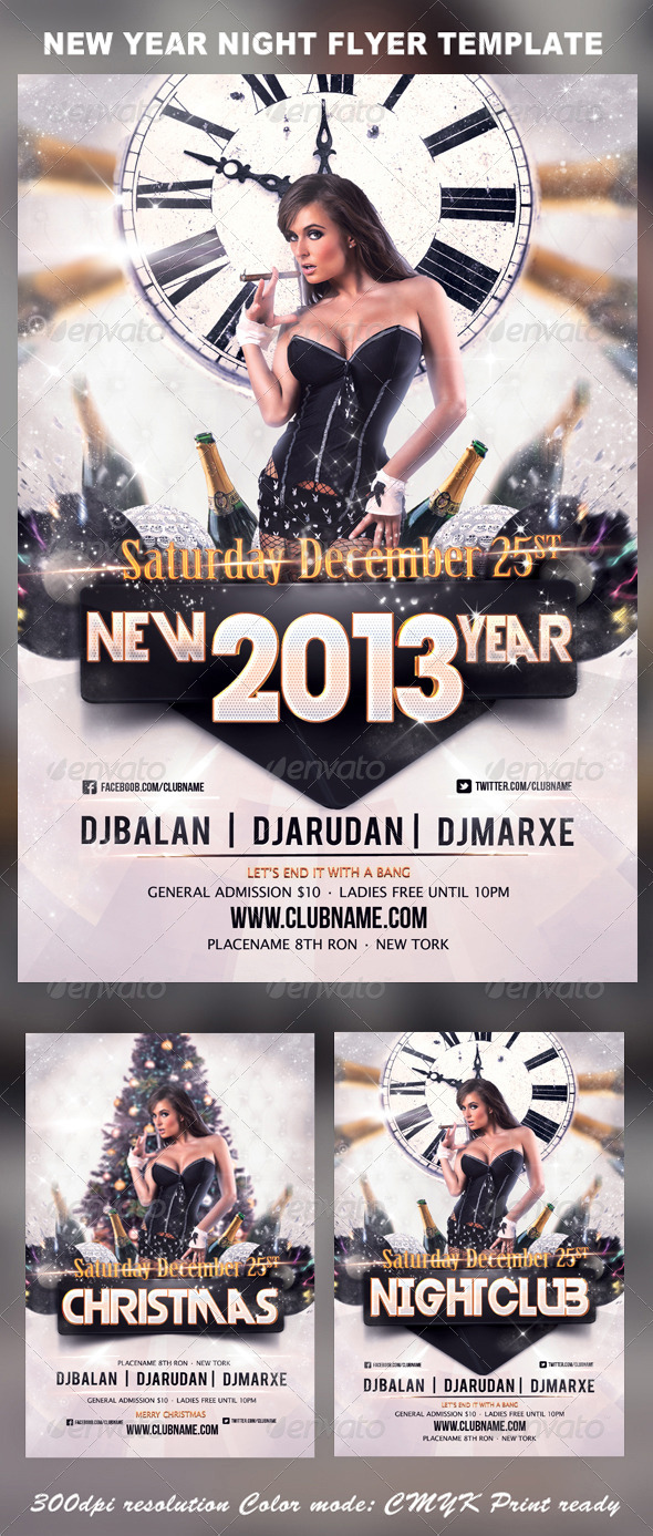 GraphicRiver 2013 New Year Christmas Party Flyer Template 3454569