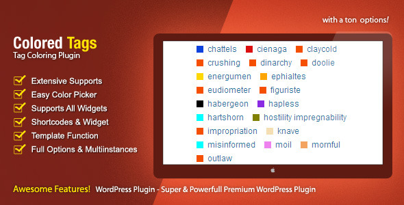 Coloridas Tags - WordPress Plugin - Prêmio WorldWideScripts.net artigo para a venda