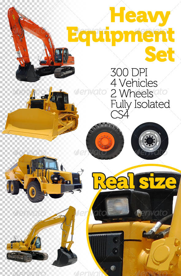 Heavy Equipment Set - Industrial &amp; Science Isolated Objects
