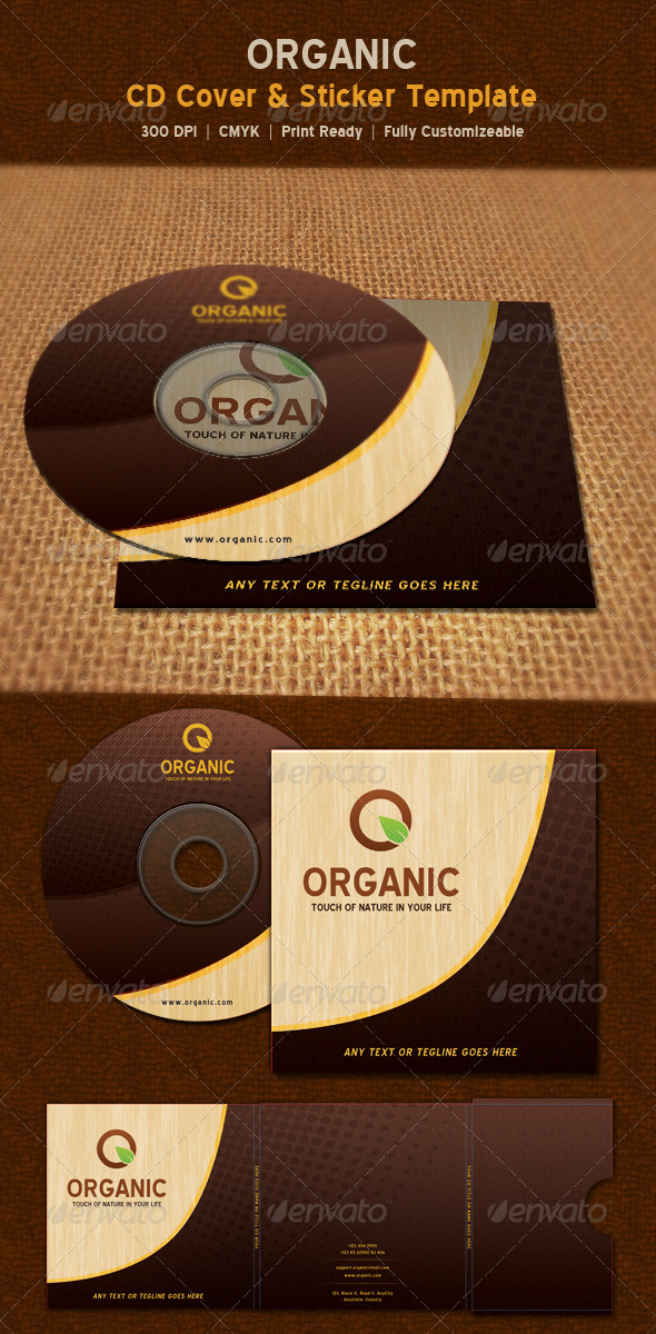 Organic Nature CD Sticker & Package Template