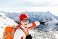 Hiking success, happy woman in winter mountains - PhotoDune Item for Sale