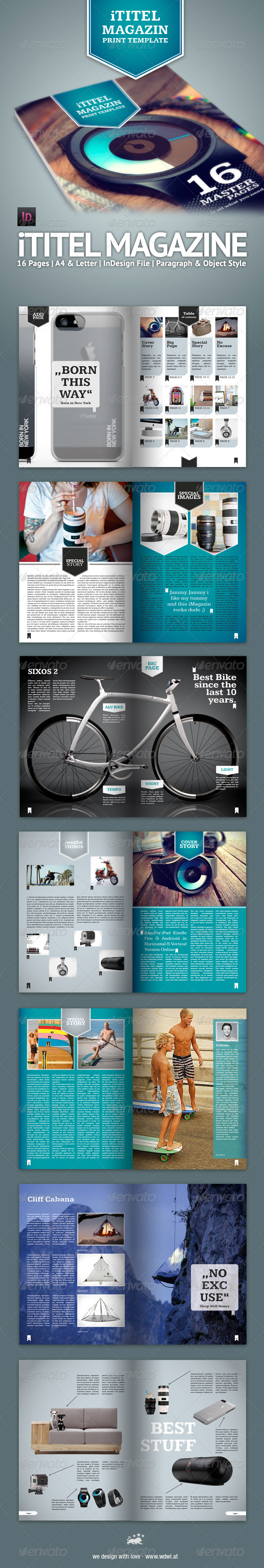 GraphicRiver iTile Magazin 16 Master Pages A4 & Letter 3484531
