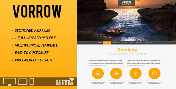 ThemeForest Vorrow One Page PSD Template 3209022