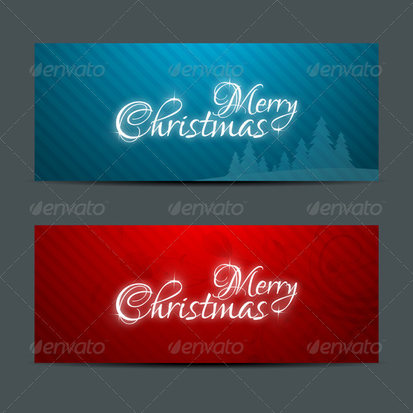 Merry Christmas Banners Set Design - Christmas Seasons/Holidays