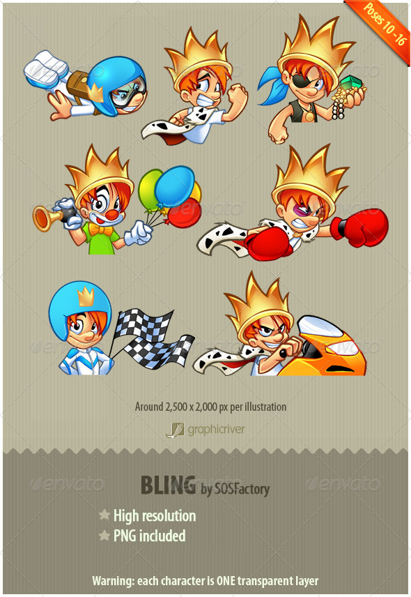 GraphicRiver Bling Series 10-16 mascot design 3488293