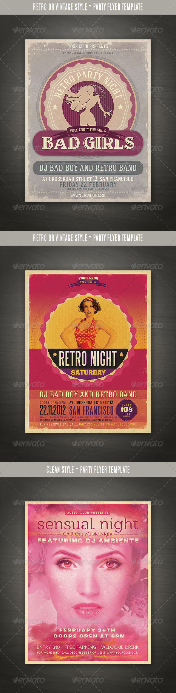 GraphicRiver Retro Party Flyers Bundle 3488824