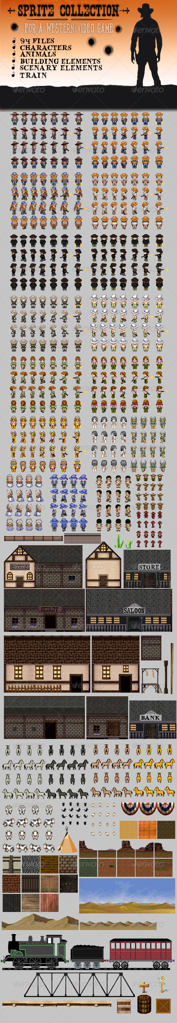 GraphicRiver Sprite Tilesets for a Western Game 3459721