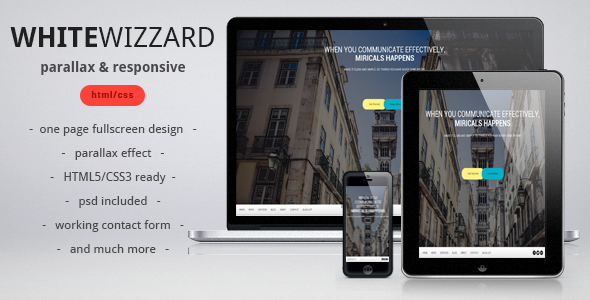ThemeForest White Wizzard Parallax & Responsive Template 3492090
