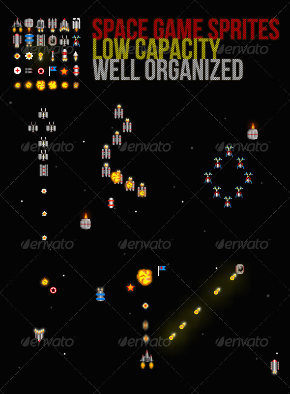 Sprite Sheet For Space Games - Illustrations Graphics