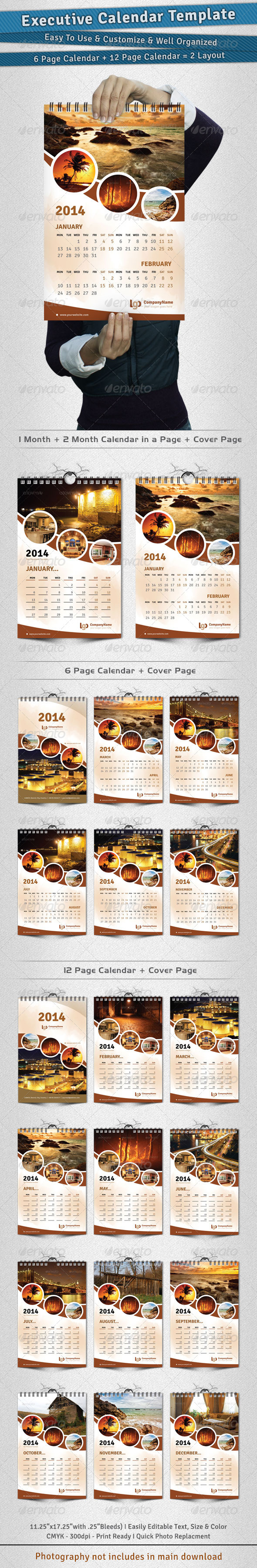 GraphicRiver Executive Calendar Template 2014 3497235