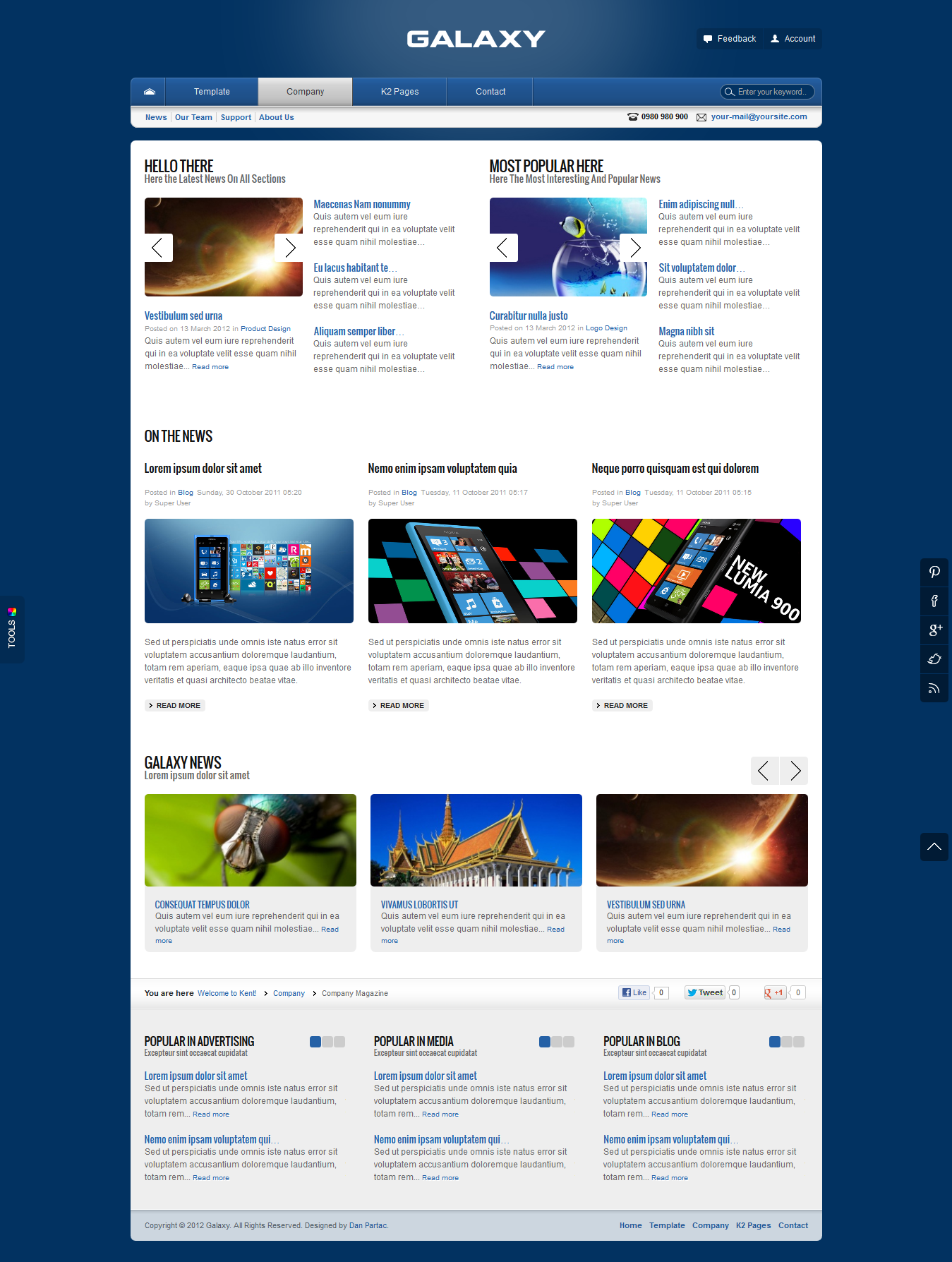 Galaxy - JomSocial Ready Corporate Template For Joomla!