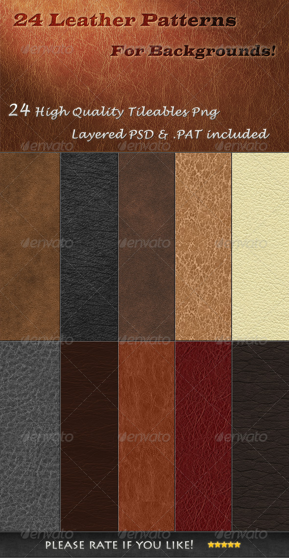 GraphicRiver 24 Tileable Leather Textures 3500995