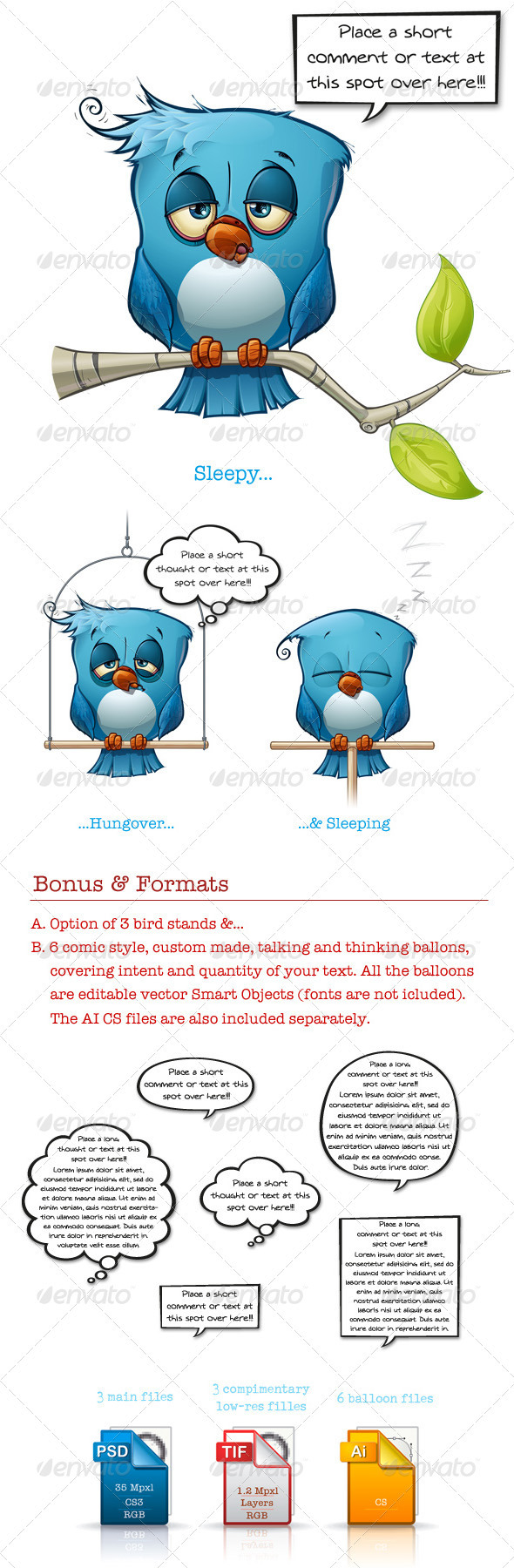 GraphicRiver Blue Bird Sleepy-Hangover-Sleeping 3501938