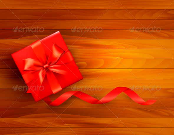 GraphicRiver Holiday Background with Gift Box and Red Bow 3502685