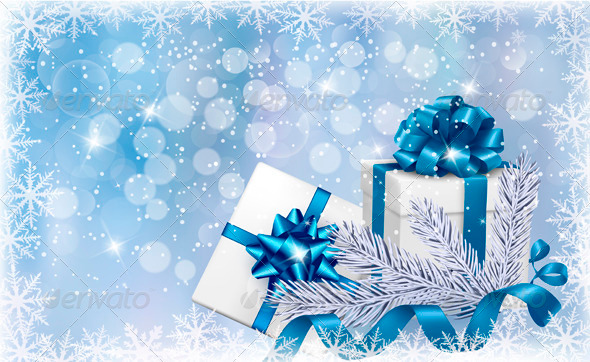 GraphicRiver Christmas Blue Background with Gift Boxes 3502724