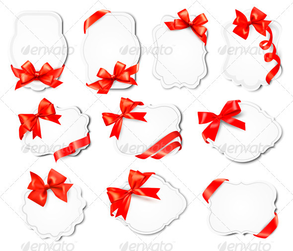 GraphicRiver Set of Beautiful Cards with Red Gift Bows 3502735