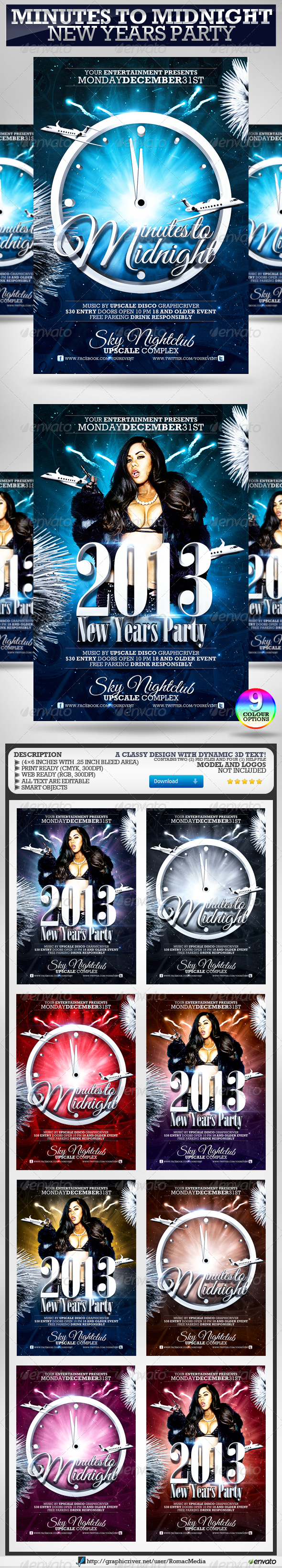 Minutes to Midnight New Years Party Flyer - Clubs & Parties Events