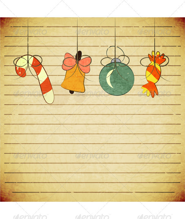 GraphicRiver Christmas Vintage Postcard with Toys 3503334