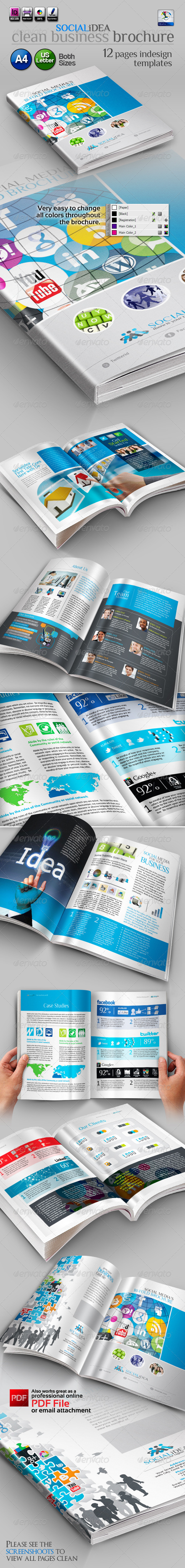 GraphicRiver Socialidea Social Media Clean Bi-fold Brochure 3504107