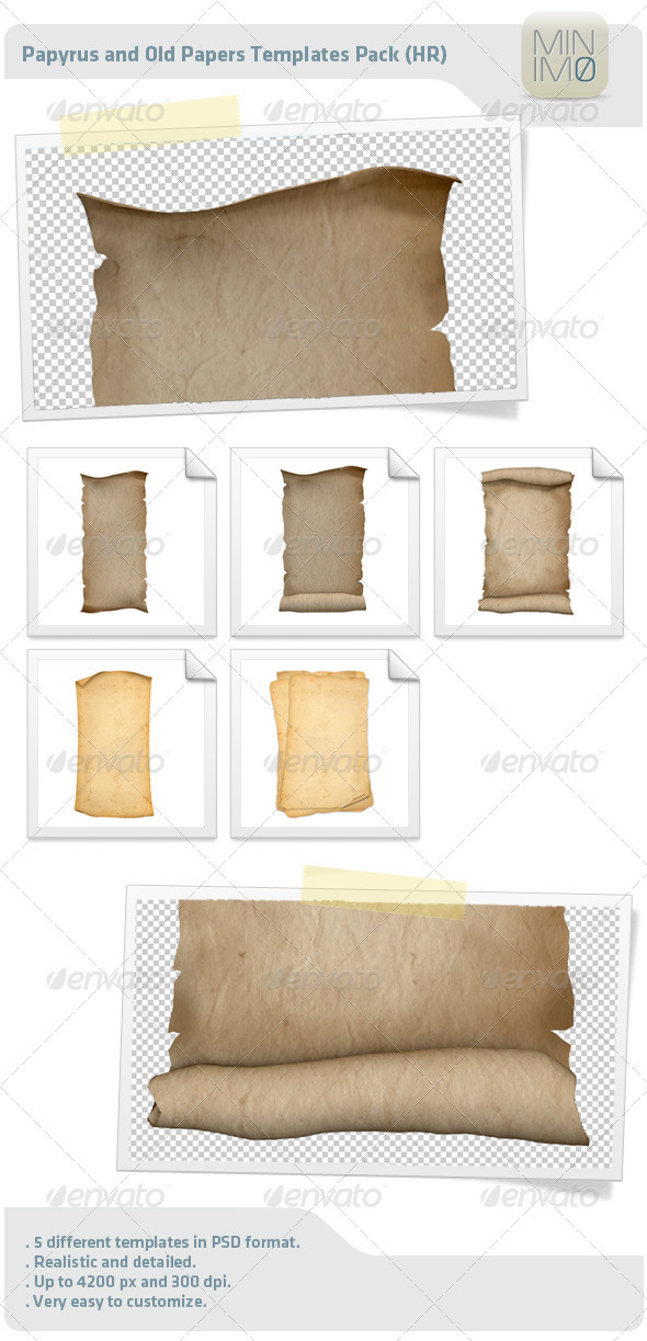 Papyrus And Old Papers Templates Pack - Decorative Graphics